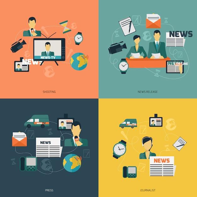 Composição de elementos de notícias plana Vetor grátis