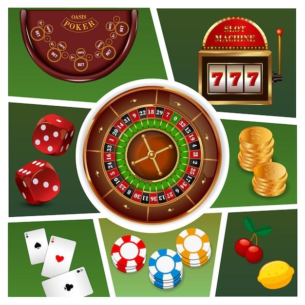 Composição de elementos realista cassino com roleta caça-níqueis moedas de ouro fichas cartas de baralho dadinhos isolados Vetor grátis