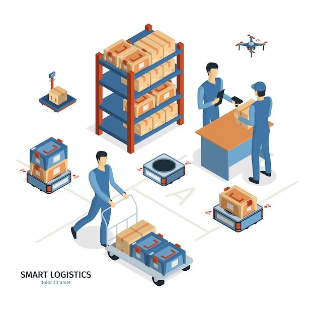 Composição de entrega logística isométrica com imagens de caixas de encomendas de prateleiras e personagens humanos de trabalhadores vector a ilustração Vetor grátis
