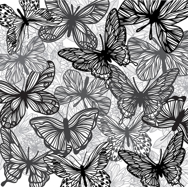 Composição de esboço de mão borboleta e flor Vetor Premium