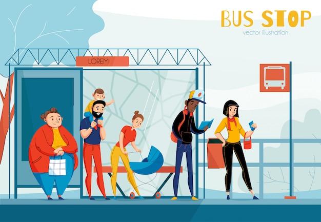 Composição de estação de ônibus de pessoas na fila com ilustração de pessoas de sexo e idade de status diferente Vetor grátis