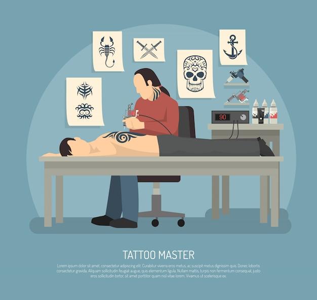 Composição de estúdio de tatuagem Vetor grátis