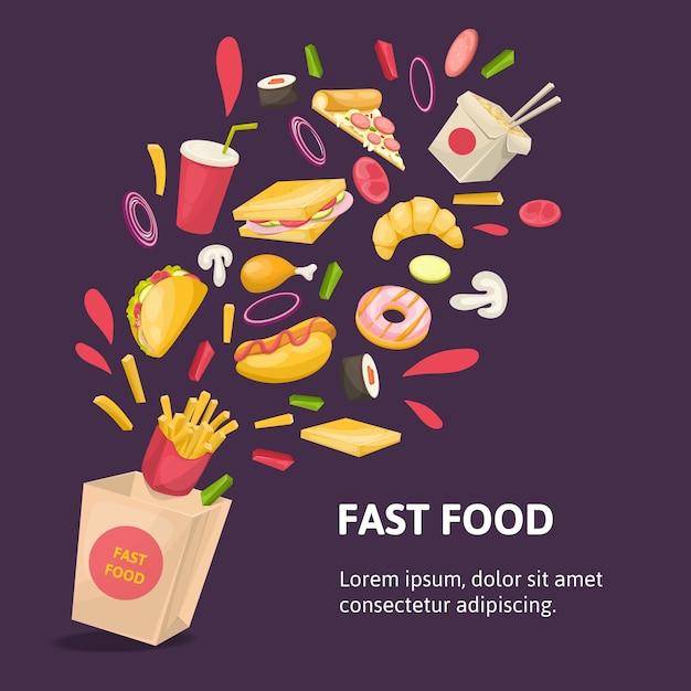 Composição de fast food Vetor grátis
