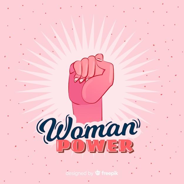 Composição de feminismo com mão desenhada punho Vetor grátis