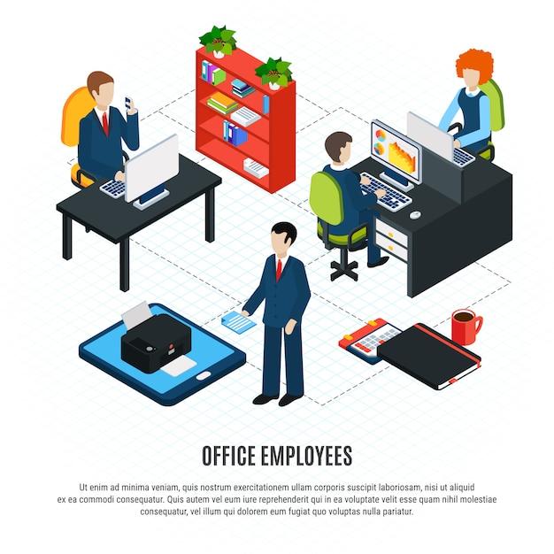 Composição de fluxograma isométrico de pessoas de negócios com texto editável e caracteres humanos de trabalhadores de escritório e ilustração vetorial de móveis Vetor grátis