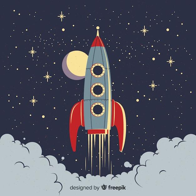 Composição de foguete espacial clássico com estilo vintage Vetor grátis