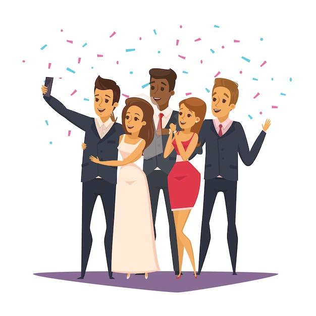 Composição de foto selfie com pessoas e celebração símbolos ilustração em vetor plana Vetor grátis