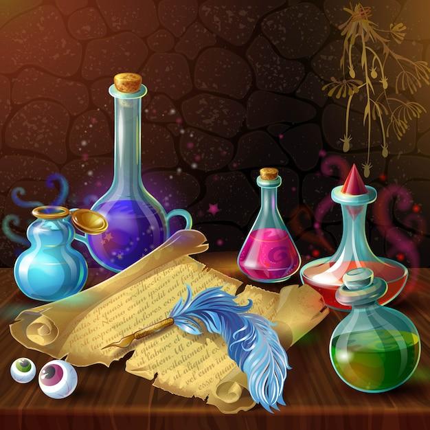 Composição de frascos de poção mágica Vetor grátis