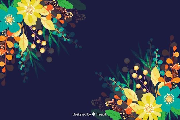 Composição de fundo floral colorido bonito Vetor grátis