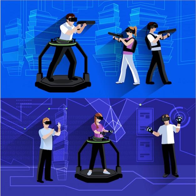 Composição de fundo horizontal realidade virtual e aumentada com as pessoas imersas em ilustração em vetor abstrato isolado mundo simulado Vetor Premium