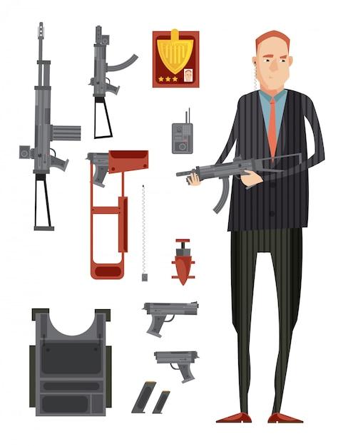 Composição de grupo de agência de inteligência colorida com ícone plano isolado conjunto com armas e homem em ilustração vetorial preta Vetor grátis