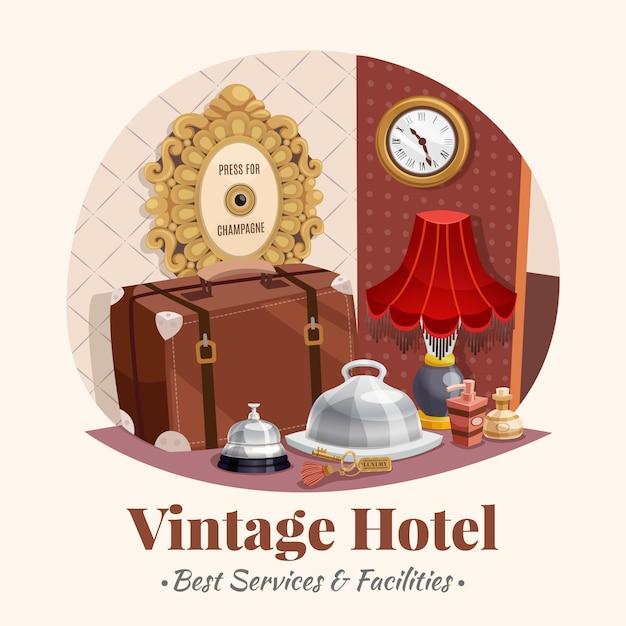 Composição de hotel vintage Vetor grátis