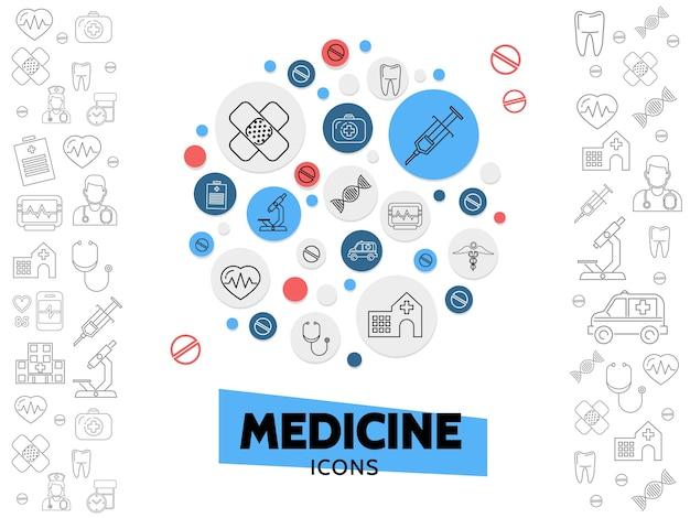 Composição de ícones da linha de saúde com seringa de gesso, microscópio de dna, estetoscópio, batimento cardíaco Vetor grátis