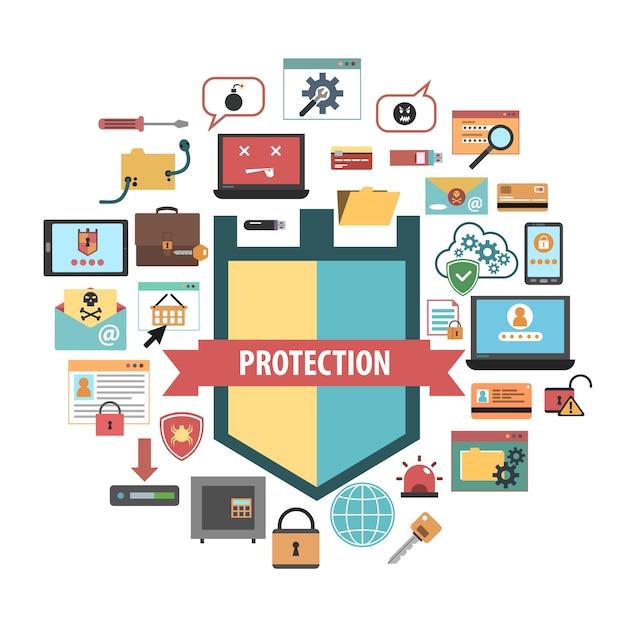 Composição de ícones de conceito de segurança de proteção de computador Vetor grátis