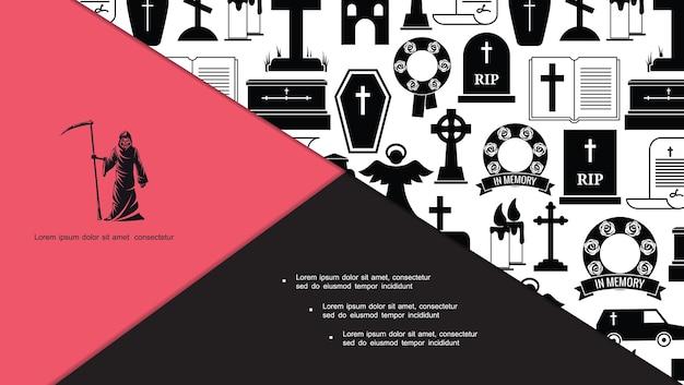 Composição de ícones de funeral e enterro planos Vetor grátis