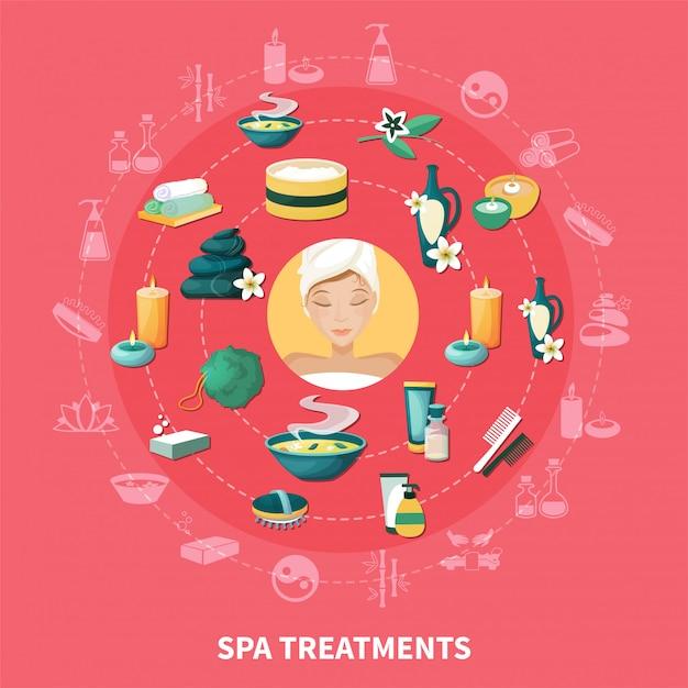 Composição de ícones plana de spa resort Vetor grátis