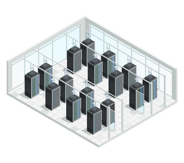Composição de interior isométrica de computação em nuvem de servidor de datacenter Vetor grátis