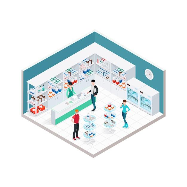 Composição de interiores de loja de químicos Vetor grátis