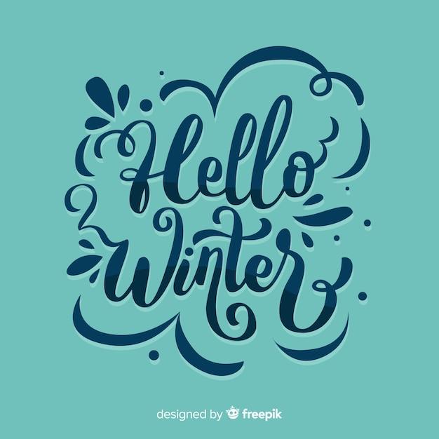 Composição de inverno com linda tipografia Vetor grátis