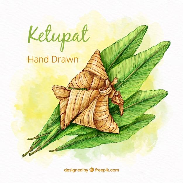 Composição de ketupat tradicional mão desenhada Vetor grátis