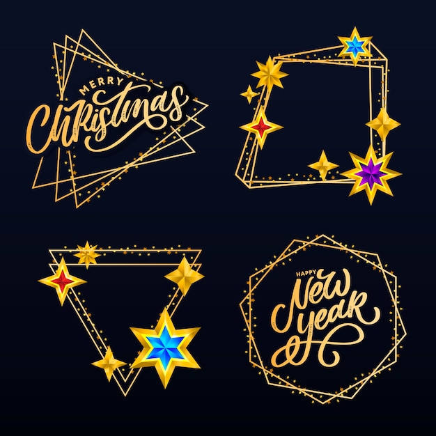 Composição de letras com estrelas e brilhos Vetor Premium