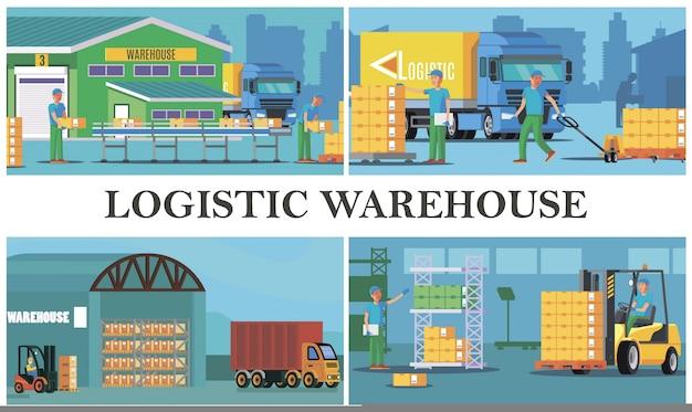 Composição de logística de armazém plano com carregamento de trabalhadores de armazenamento de processo de caminhão, transporte e cálculo de caixas Vetor grátis