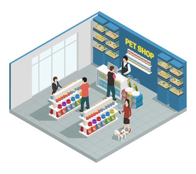 Composição de loja de animais com clientes mercadorias e animais de estimação Vetor grátis