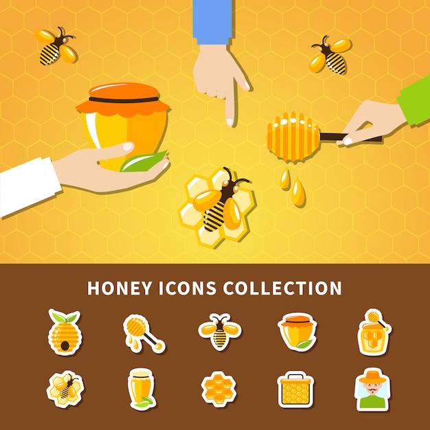 Composição de mel e mãos Vetor grátis