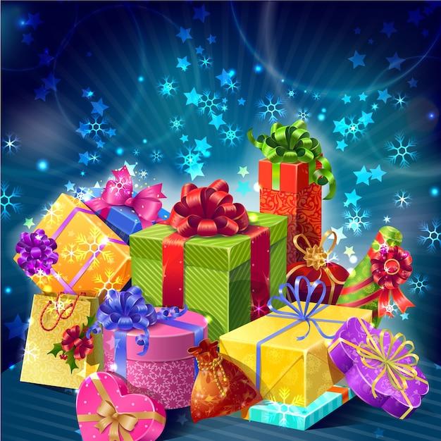 Composição de natal com caixas de presentes de desenhos animados Vetor grátis
