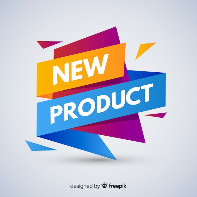 Composição de novo produto colorido com design plano Vetor grátis