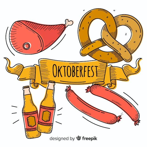 Composição de oktoberfest desenhada mão clássico Vetor grátis