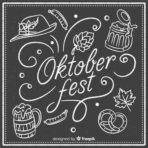 Composição de oktoberfest elegante com estilo de quadro-negro Vetor grátis