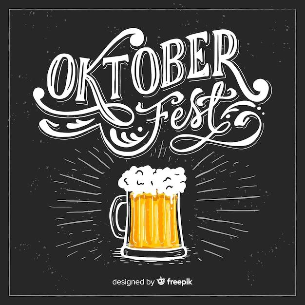 Composição de oktoberfest elegante mão desenhada Vetor grátis