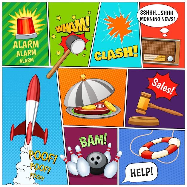 Composição de painéis de página de quadrinhos com foguetes de alarme Vetor grátis
