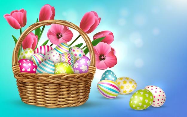 Composição de páscoa com fundo desfocado e imagens da cesta cheia de flores e ilustração festiva de ovos de páscoa Vetor grátis