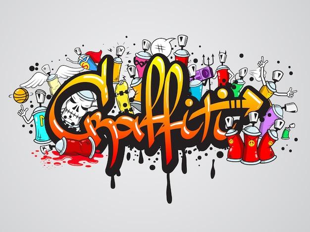 Composição de personagens de graffiti Vetor grátis