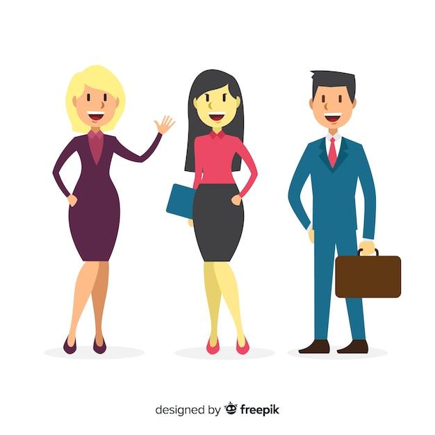 Composição de pessoas de escritório moderno com design plano Vetor grátis