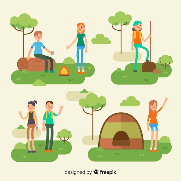 Composição de pessoas fazendo atividades ao ar livre Vetor grátis