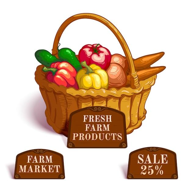Composição de produtos agrícolas frescos Vetor grátis