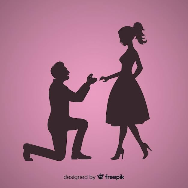 Composição de proposta de casamento com estilo de silhueta Vetor grátis
