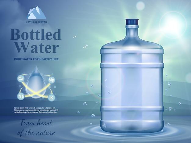Composição de publicidade de água engarrafada com símbolos de água natural Vetor grátis