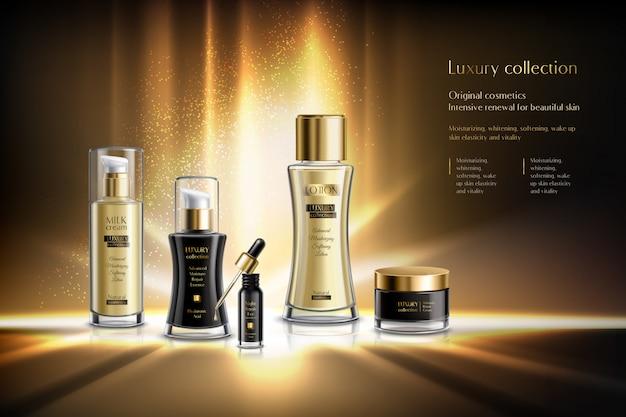 Composição de publicidade de cosméticos com renovação intensiva de cosméticos originais da coleção de luxo para ilustração de descrição de pele de beleza Vetor grátis