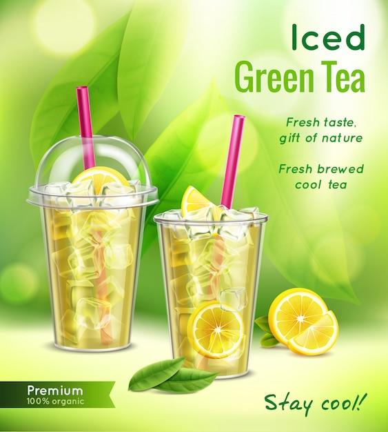 Composição de publicidade realista de chá verde gelado com copos cheios de hortelã deixa ilustração vetorial de limão Vetor grátis