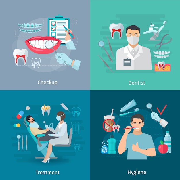 Composição de quadrados de conceito de cuidados de dentes de cor lisa de tratamento de ferramentas de dentista de check-up médico e ilustração vetorial de higiene isolado Vetor grátis