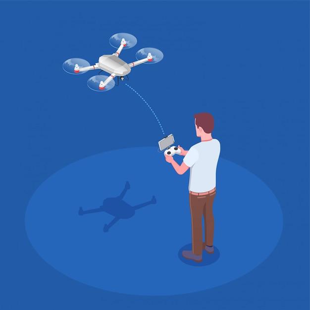 Composição de quadrocopter controlado remotamente Vetor grátis