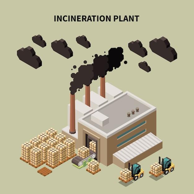 Composição de reciclagem de lixo colorido com manchete da planta de incineração e ilustração de construção de armazém isolado Vetor grátis