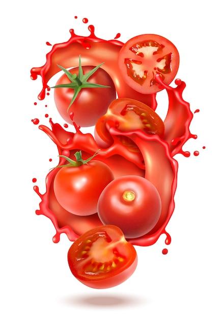 Composição de respingo de suco de tomate realista com fatias e frutos inteiros de tomate com salpicos de suco líquido Vetor grátis