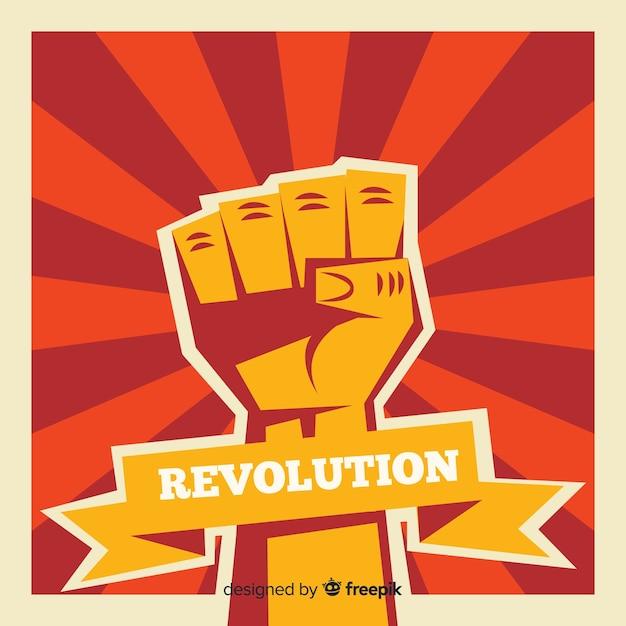 Composição de revolução clássica com punho levantado Vetor grátis