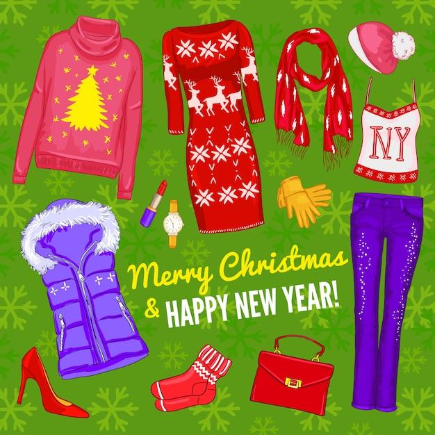Composição de roupas da moda de natal coloridas com conjunto de ícones de natal Vetor grátis