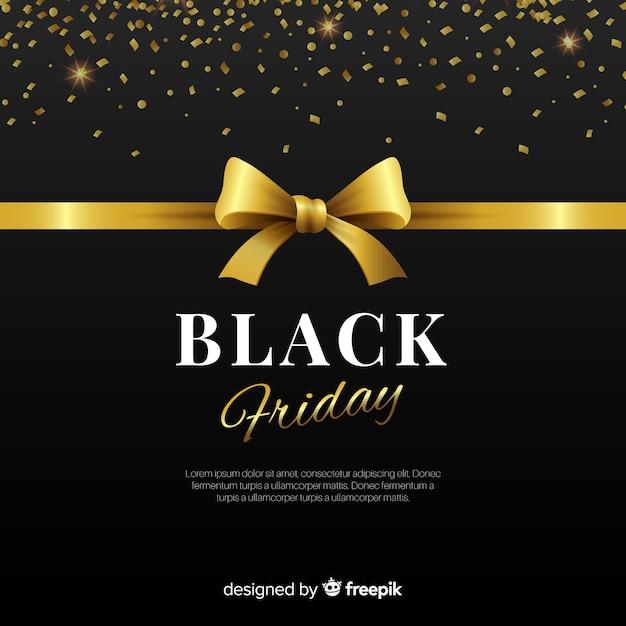 Composição de sexta-feira negra elegante com estilo dourado Vetor grátis
